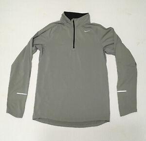 Nike Element Running Dri Fit Mens 1/4 Zip LS Pullover Shirt Size S Gray