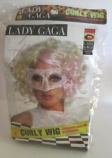 LADY GAGA Costume CURLY WIG & HALF MASK Platinum Blonde with Pink Highlight NEW