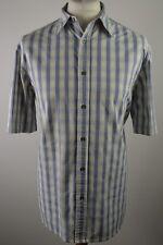Premium men's Paul Smith Jeans blue & cream check short sleeved shirt large