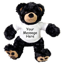 "Personalized Teddy Bear - 13"" Vera Bear - Black"