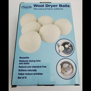 Wool Dryer Balls Natural Fabric Softener Set Of 6 New
