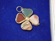 Vintage Lucky Irish Shamrock Carnelian Agate Jade Clover Pendant Charm  2b 38