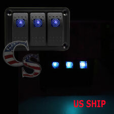 3 Gang Marine Boat Car DV Switch Panel With 2 Charger 4USB Slot LED light