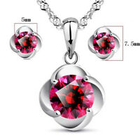925 Silver Red Zircon Flower Pendant Necklace Earrings Set For Women Jewelry
