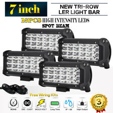 4x 7inch TRI ROW LED Work Light Bar 252W Spot Driving Offroad Fog Lamp Tail 5/9""