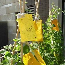 LARGE AREA YELLOW HANGING STICKY GLUE BOARDS FLYING OUTDOOR INSECT TRAP 10PCS