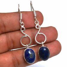 "Plated Handmade Earrings 2"" Se-082 Lapis Lazuli Gemstone 925 Silver"