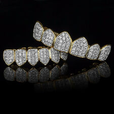 18K Gold & Silver Plated High Quality CZ Top & Bottom GRILLZ Mouth Teeth Grills