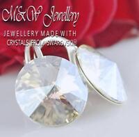 925 Sterling Silver Earrings Crystals From Swarovski® 14mm RIVOLI  - Moonlight