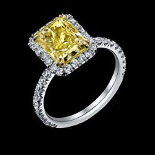 4.04 ct GIA fancy intense yellow VS1 radiant diamond halo antique ring platinum