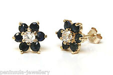 9ct Gold Sapphire and CZ cluster Stud earrings Made in UK Gift Boxed Studs