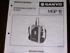 Sanyo Mgp 16 M-Gp16 Cassette Player Service/Part Manual