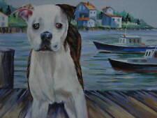 American Pit Bull Terrier dog Harbor landscape print