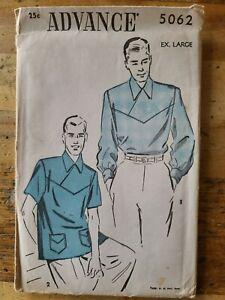 1940s Vtg Advance Sewing Pattern 5062 Mens Shirt 2 Sleeves lengths