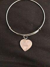 ROSE QUARTZ  Love HEART Romance Bangle Bracelet