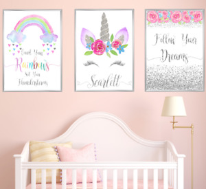 Unicorn Personalised Name Nursery Art Prints Set Silver Girls Room 3 Pictures