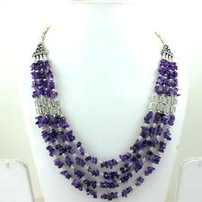 NATURAL AMETHYST CHIPS GEMSTONE BEADED BEAUTIFUL NECKLACE 72 GRAMS