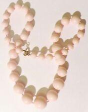 collier de perles dégressives fantaisie résine rose attache couleur or * 3556