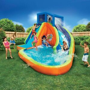 Banzai Sidewinder Falls Inflatable Water Park Play Pool with Slides and Blower