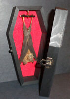 Real Hanging Bat in a Black Wooden Coffin! Gothic Taxidermy! Nice Quiet Pet!