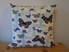 """Handmade Cushion Cover Butterfly Vintage Style Pillow Cotton Canvas 16"""" Zip"""