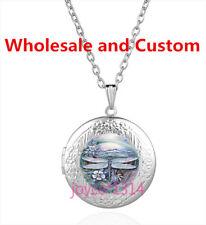 Flower Dragonfly Cabochon Tibetan silver Glass Locket Pendant Necklace HZ-4507