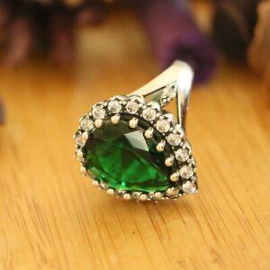 Hurrem Sultan Rings, 925 Sterling Silver, Green Cubic Zircon Stones