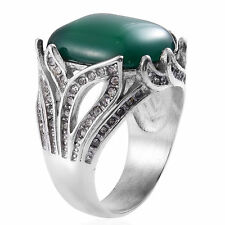 GREEN AGATE, AUSTRIAN CRYSTAL RING IN STAINLESS STEEL, SZ 8