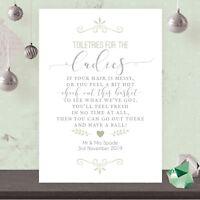 Personalised Ladies Toiletry Basket Wedding Sign Sage Green & Silver Effec SSG14