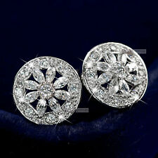 18k white gold gf made with SWAROVSKI crystal filigree round stud earrings new
