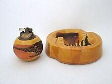 Vtg Mid Century Modern Haeger Art Pottery Earth Wrap Lighter Ashtray Smoke Set