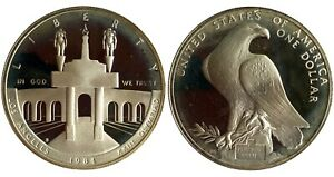 USA 1$ one Dollar 1984 S Commemorative Silver Coin XXIII Olympiad in Los Angeles