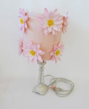 Girl's Room Pink Water Lily Silk Flowers Crystal White Wrought Iron Lamp