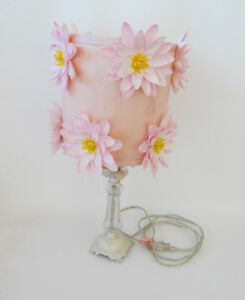Girl's Room Pink Water Lily Silk Flowers & Crystal White Wrought Iron Table Lamp