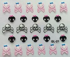 Nail Art 3D Decal Stickers Halloween Pink Skull and Bones Skull with Bow GL21
