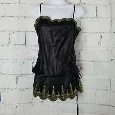 NWT Single Black Silk Evening Top by Galina Sobolev size Medium gold embroidery