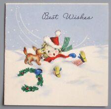 UNUSED Vintage Greeting Card Christmas Cute Little Girl Dog Snow Hallmark 1940s