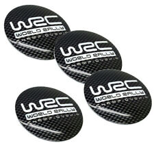"""4x 2.2"""" 56mm Carbon Fiber WRC Aluminum Wheel Center Hub Cap Emblems Stickers"""