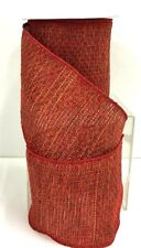 "Fabric Weave Wired Edge Ribbon~Red, Multi Color~4"" W x 10 yds."