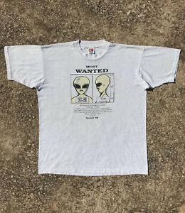 Vintage 90s Most Wanted Alien UFO T Shirt alien workshop glows in the dark