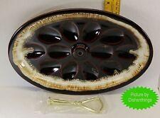 Pfaltzgraff Brown Drip Deviled Egg Platter MINT! USA! NO Crazing!! NEW Handle!