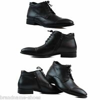 MENS BLACK ZASEL FORMAL CASUAL LEATHER LACE UP WITH ZIP DRESS CASUAL MEN'S BOOTS