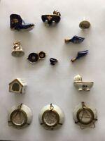 VINTAGE F.M. LIMOGES MINIATURE COBALT BLUE&GOLD PORCELAIN PLATE-FRANCE Lot