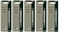 5 x Parker Quink Jotter Classic Ball Point Pen Refills, Black Ink Fine Tip 0.8mm