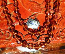 "necklace made in West Geamany 18"" rt Coro Honey Amber facted Crystals 2 strand"