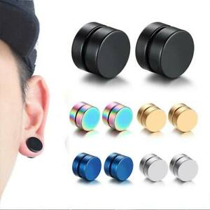 5 PACK Magnetic Earrings Gothic Stainless Steel Round Ear Stud-10mm 5 Colors
