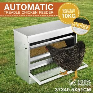 22LBS Auto Automatic Chicken Feeder Galvanized Poultry Chook Treadle Self Coop