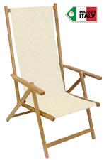 Sedia sdraio pieghevole prendisole in legno di faggio chiaro naturale in tela P