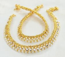 Designer Beautiful Gold Tone /Plated Anklet / Payal With Crystal & Kundan