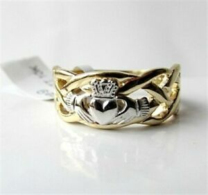 Irish Celtic Claddagh Ring Gent's Mans Two Tone Gold Made in Ireland By Facet
